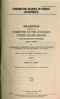 CONFIRMATION HEARINGS ON FEDERAL APPOINTMENTS   HEARINGS BEFORE COMMITTEE ON THE JUDICIARY UNITED STATES SENATE PDF