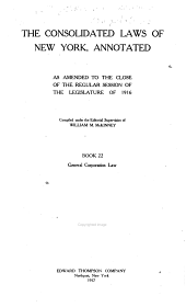 McKinney's Consolidated Laws of New York Annotated: With Annotations from State and Federal Courts and State Agencies, Book 22