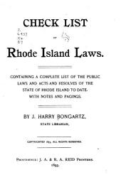 Check List of Rhode Island Laws