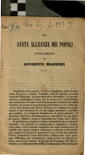 La Santa Alleanza dei popoli nuovo scritto di Giuseppe Mazzini