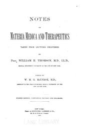 Notes on Materia Medica and Therapeutics