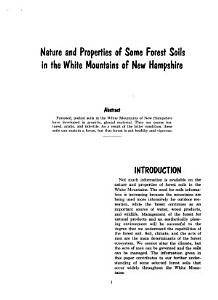 Nature and Properties of Some Forest Soils in the White Mountains of New Hampshire PDF