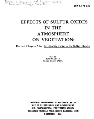 Effects of Sulfur Oxides in the Atmosphere on Vegetation PDF