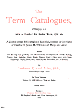 The Term Catalogues, 1668-1709 A.D.: 1683-1696