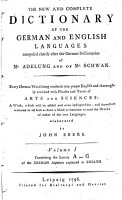 The New and Complete Dictionary of the German and English Languages PDF