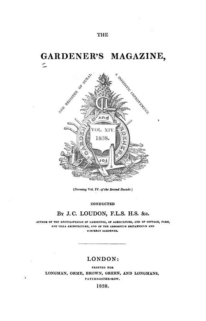 The Gardener's Magazine and Register of Rural and Domestic Improvement
