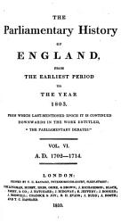 The Parliamentary History Of England From The Earliest Period To The Year 1803 Book PDF