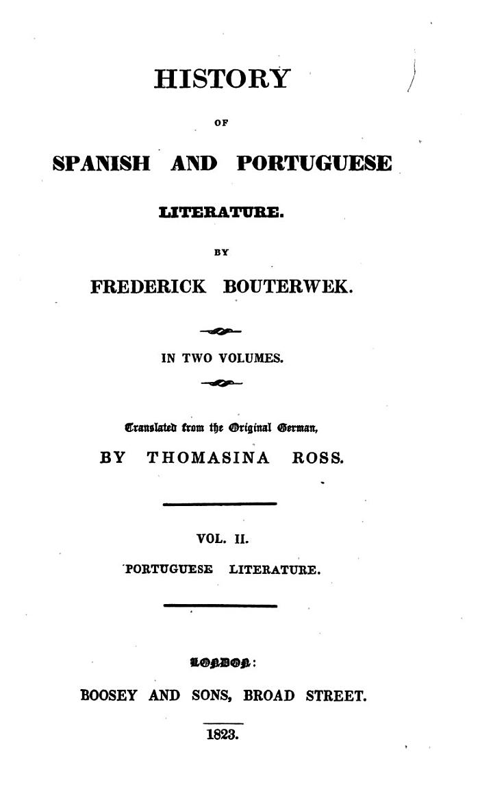 History of Spanish and Portuguese literature, tr. by T. Ross