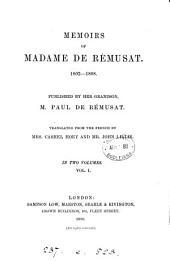 Memoirs ... 1802-1808, publ. by P. de Rémusat, tr. by mrs. C. Hoey and J. Lillie: Volume 1