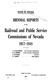 Reports of the Railroad and Public Service Commissions of Nevada