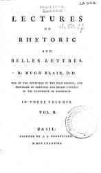 Lectures on Rhetoric and Belles Lettres PDF