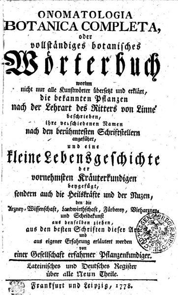 Onomatologia Botanica Completa  oder vollst  ndiges botanisches W  rterbuch PDF