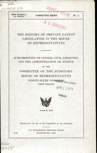 The History of Private Patent Legislation in the House of Representatives PDF