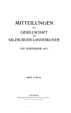 Mitteilungen der Gesellschaft f  r Salzburger Landeskunde PDF