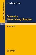Séminaire Pierre Lelong (Analyse)