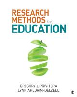 Research Methods for Education PDF