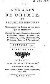 Annales de chimie ou Recueil de mémoires concernant la chimie et les arts qui en dépendent: Volume11