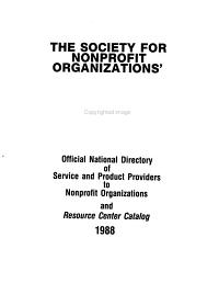 The Society for Nonprofit Organizations  Official National Directory of Service and Product Providers to Nonprofit Organizations and Resource Center Catalog PDF