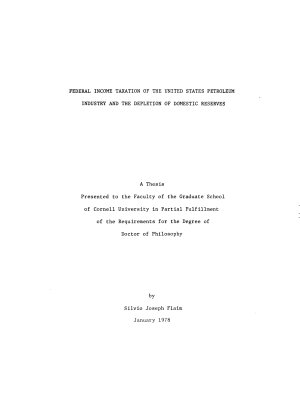 Federal Income Taxation of the United States Petroleum Industry and the Depletion of Domestic Reserves PDF