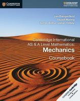 Cambridge International AS and A Level Mathematics  Mechanics Coursebook PDF