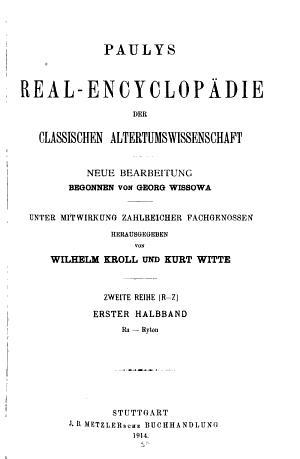 Paulys Real encyclop  die Der Classischen Altertumswissenschaft  2  Reihe R Z