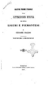 Alcune prime parole sulla situazione nuova dei popoli Liguri e Piemontesi: Volume 1