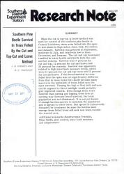 Southern Pine Beetle Survival In Trees Felled By The Cut And Top Cut And Leave Method Book PDF