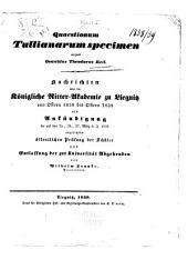Quaestionum Tullianarum specimen: Parts 1-2