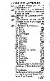 Nouvelle bibliothèque germanique ou histoire littéraire d'Allemagne, de la Suisse et des pays du Nord: Volume 19