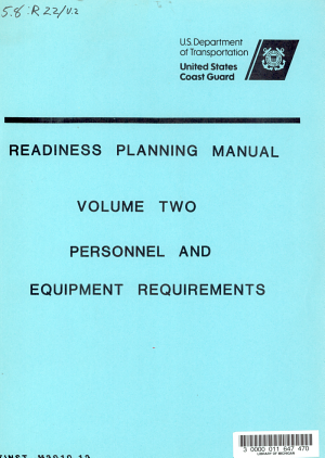 Readiness Planning Manual  Personnel and equipment requirements PDF