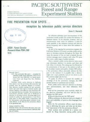 Fire Prevention Film Spots   Reception by Television Public Service Directors PDF