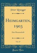 Heimgarten, 1903, Vol. 27