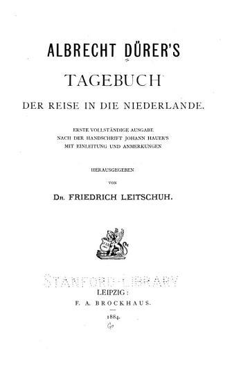 Albrecht D  rer s Tagebuch der Reise in die Niederlande PDF
