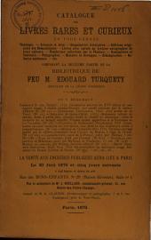 Catalogue de vente des livres de Edouard Turquety, du 20 à 25 juin 1870