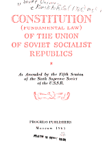 Constitution  fundamental Law  of the Union of Soviet Socialist Republics PDF