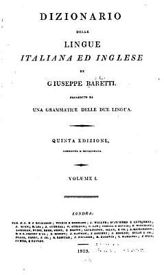 Dizionario delle lingue italiana ed inglese  Italiano ed inglese PDF