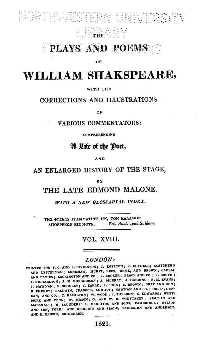 Henry VI, parts I-III. Dissertation on Henry VI, by E. Malone