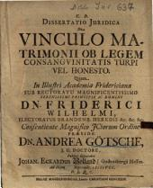 Dissertatio Iuridica De Vinculo Matrimonii Ob Legem Consanguinitatis Turpi Vel Honesto