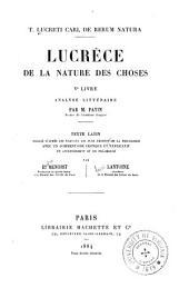 Lucrèce. De la nature des choses, Ve livre: Analyse littéraire