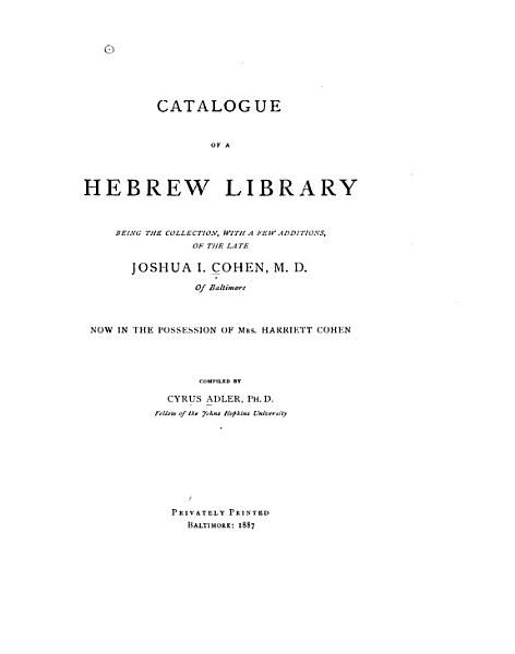 Download Catalogue of a Hebrew Library Book