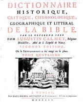 Dictionnaire Historique, Critique, Chronologique, Geographique Et Litteral De La Bible: S - Z, Volume4