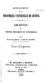 Archives des sciences physiques et naturelles: Volume5