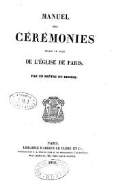 Manuel des cérémonies selon le rite de l'Église de Paris