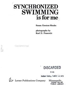 Synchronized Swimming is for Me PDF