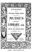 Catalogue of the Principal English Books in Circulation at Mudie s Select Library  Ltd      Jan   09 PDF