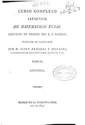 Curso completo elemental de matemáticas puras: Álgebra, Volumen 2