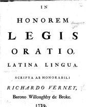 In Honorem Legis Oratio