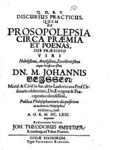 Discursus pract. quem de prosopolepsia circa praemia et poenas ... exponet