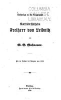 Nachtr  ge zu der Biographie Gottfried Wilhelm Freiherr von Leibnitz PDF