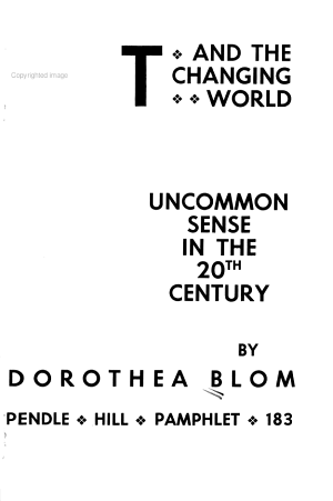 Art and the Changing World: Uncommon Sense in the 20th Century